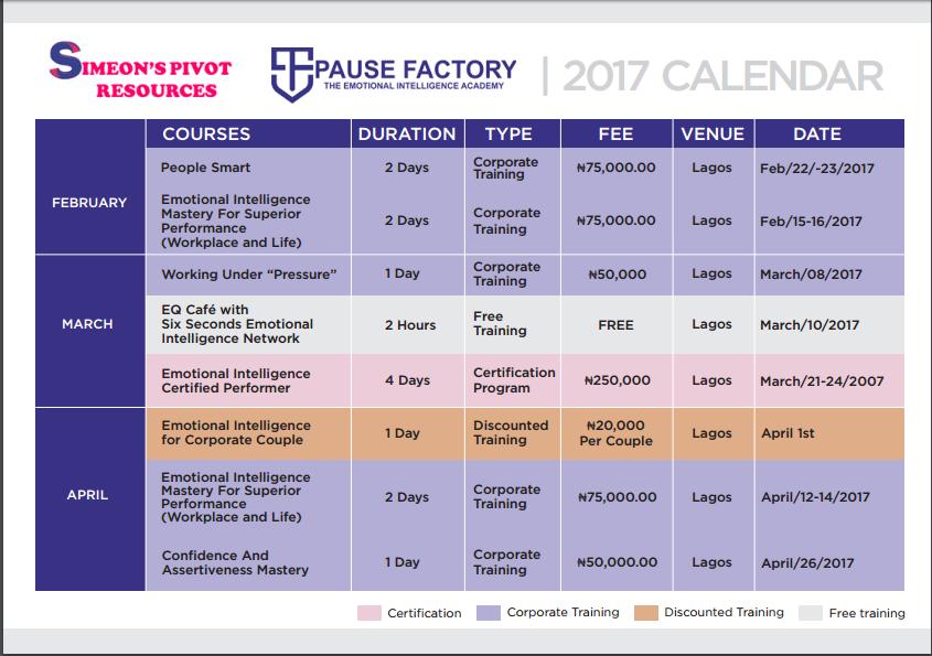 2017 Training Calendar Page 1